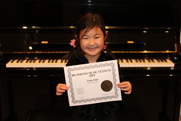 Paula Mali.  3rd place.  Richmond Music Festival, November 2014, Concert Class Division.