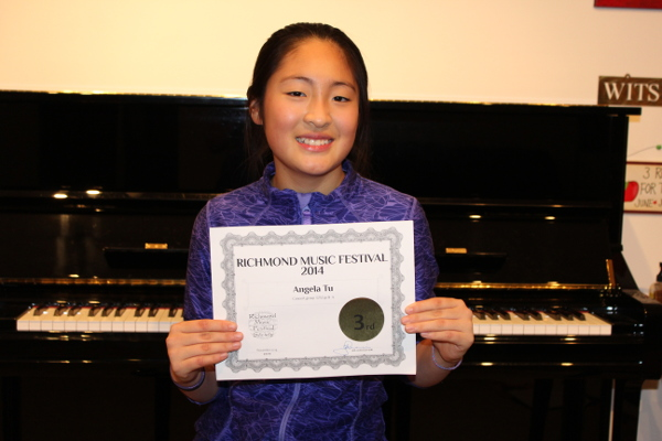 Angela Tu 3rd place. Richmond Music Festival, November 2014, Concert Class Division