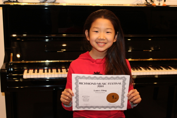 Lancy Ding. First Place Trophy Winner for her grade division. Richmond Music Festival. November 2014. Concert Class Division
