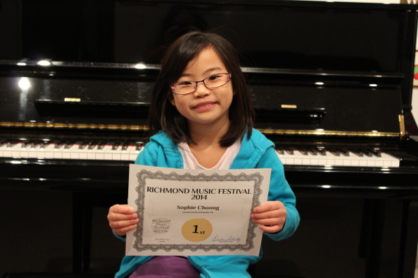 Sophie Choong. First Place Medal Winner in her grade division. Richmond Music Festival, November 2014. Concert Class Division