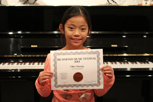 Ellie Choong, Certificate in her grade division. Richmond Music Festival.  November 2014. Concert Class Division