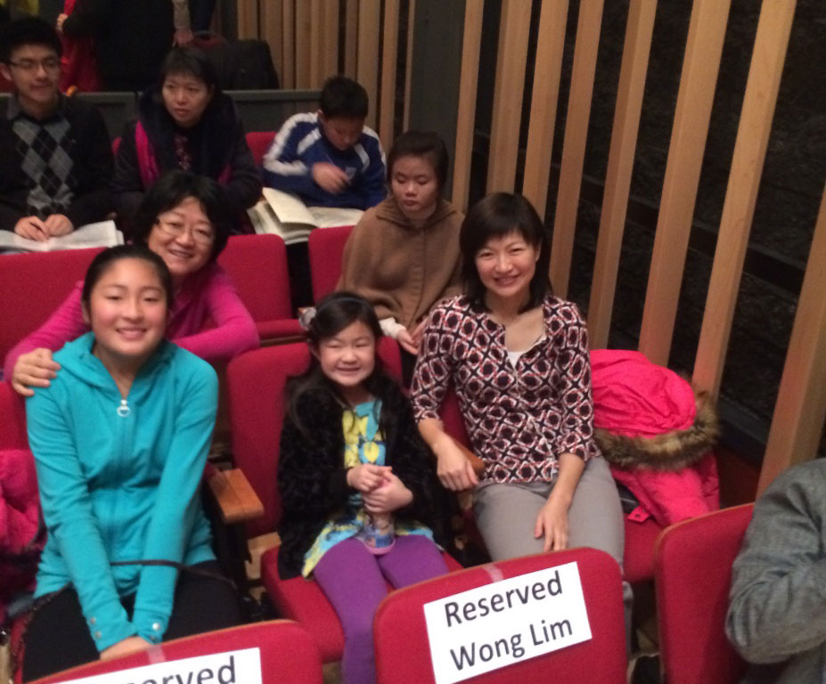 Maggie, Angela, Paula, and Wei at the Murray Perahia master class